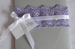 Purple, Silver & White Wedding invites